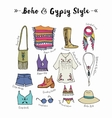 Bohemian fashion style set boho and gypsy vector image
