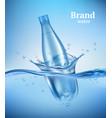 bottle in water liquid flowing wave vector image vector image