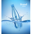 bottle in water liquid flowing wave with vector image vector image