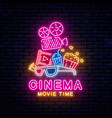 bright neon sign for the cinema vector image vector image