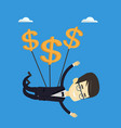 business man flying with dollar signs vector image vector image