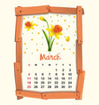 calendar template for march with yellow flower vector image vector image