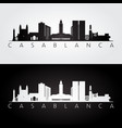casablanca skyline and landmarks silhouette vector image vector image