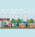 city street with cafe and taxi stand flat vector image