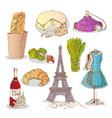 colorful paris elements set vector image vector image