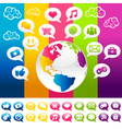 Colorful Social Media Planet Earth with Icons vector image vector image