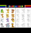 coloring book with cartoon wild animals collection vector image