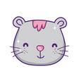cute gray cat face cartoon animal feline vector image vector image