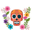 day of the dead mask with floral decoration vector image vector image