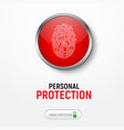 design of a white banner with a red button with a vector image