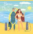 diving couple in flat style vector image