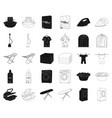 dry cleaning equipment blackoutline icons in set vector image