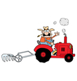 farmer driving a red tractor vector image vector image
