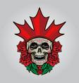 flag canada logo sugar skull dia de los muertos vector image vector image