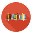 Flat Education Reading Books with Bookshelf Icon vector image vector image