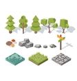 Flat elements nature trees bushes rocks