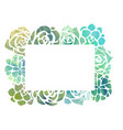 frame of watercolor succulents with a top view on vector image
