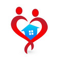 house and heart shape figures logo icon vector image