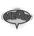 meow comic speech bubble icon monochrome vector image vector image