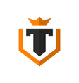 modern t letter shield logo vector image vector image
