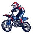 motocross rider ride the motocross bike vector image vector image