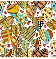 pattern of zentangle hearts vector image vector image