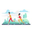 people run in park green landscape jogging vector image vector image