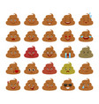 piece of shit funny emoticons isolated set vector image