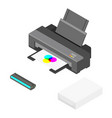 printer paper and cartridges isometric view vector image vector image
