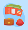 purse red wallet with money ico for vector image