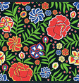 seamless pattern with ornament in otomi style vector image