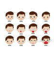 Set face expressions a brown haired man