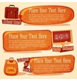Set of cute school banners with bags chalkboard vector image vector image