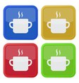 set of four square icons - cooking pot with smoke vector image vector image