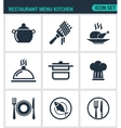 Set of modern icons Restaurant menu vector image