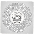 Set of Nautical cartoon doodle objects symbols vector image vector image