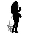 silhouette of a woman with shopping basket vector image vector image
