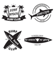 Surfing related labels set vintage vector image vector image