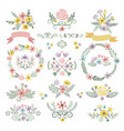 sweet stickers and vintage labels floral elements vector image vector image