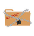 the metal chain and padlock folder file vector image vector image
