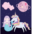 unicorn and mermaid saturn planet cloud magic vector image vector image
