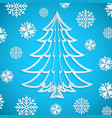 white paper christmas tree on blue vector image vector image