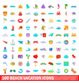 100 beach vacation icons set cartoon style vector image vector image