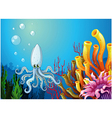A deep sea with an octopus vector image vector image
