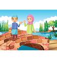 A Muslim couple waving at the bridge vector image