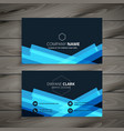 abstract dark blue business card design vector image vector image