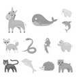 an unrealistic animal monochrome icons in set vector image vector image