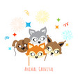 animal carnival decoration cartoon masks on face vector image vector image