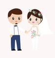 beautiful hipster bride and groom couple in pants vector image