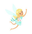 beautiful sweet blonde tooth fairy girl flying vector image vector image